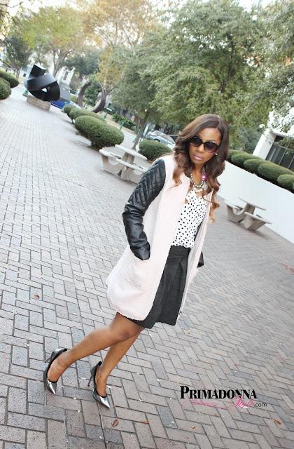 Tinley Road Boucle Coat  H&M V-Neck Blouse  Xhilaration Pleated Circle Skirt