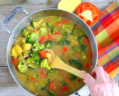 Broccoli Potato Cheddar Soup, another healthy seasonal soup for fall ♥ AVeggieVenture.com, tons of broccoli, tons of flavor. Great for Meal Prep. Easily Made Gluten Free, Low Carb and Vegan. Recipe, cooking  tips, nutrition and WW Weight Watchers points included.