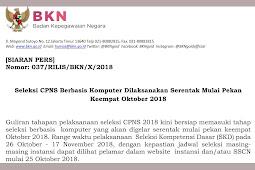 Jadwal Seleksi CPNS Berbasis Komputer Dilaksanakan Serentak Akhir Oktober 2018