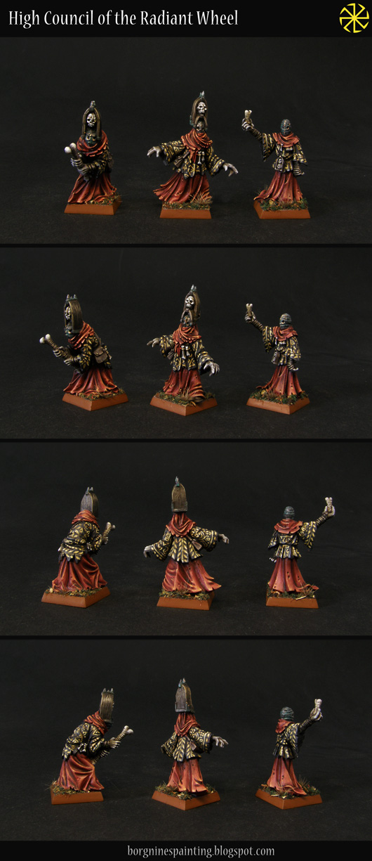 3 tabletop cultists miniatures from Black Crab Miniatures, seen from several angles and are painted with red and black robes, with some patinated metal masks.