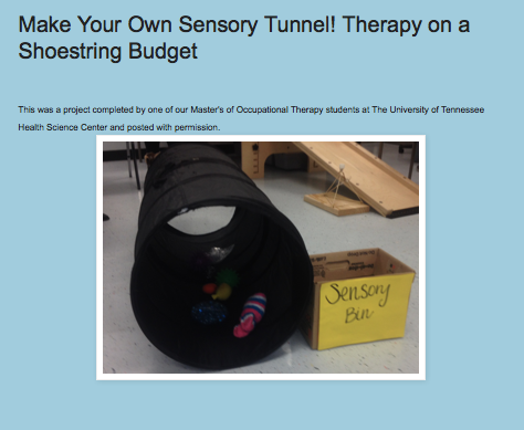 http://drzachryspedsottips.blogspot.com/2014/12/make-your-own-sensory-tunnel.html