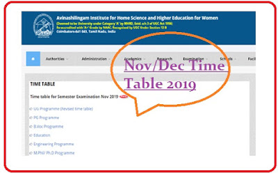 Avinashilingam University Time Table Nov Dec 2019