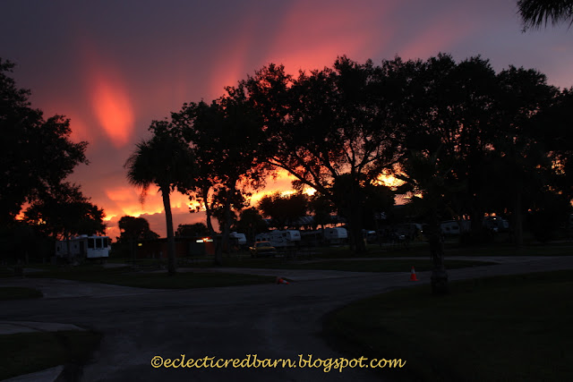 Eclectic Red Barn: Sunset at Lake Okeechobee over the campers