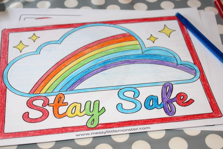 Stay safe rainbow coloring page