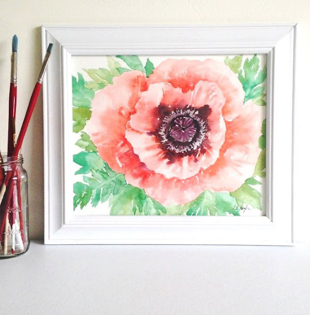 Coral Poppy Painting in Watercolor