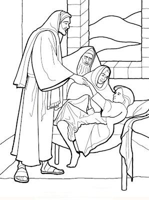 Dibujos Cristianos: La Hija de Jairo para colorear