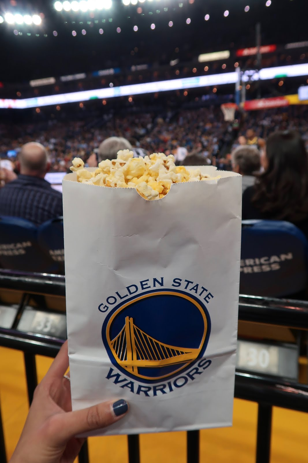 Coutside Basketball game snacking. Popcorn, please!
