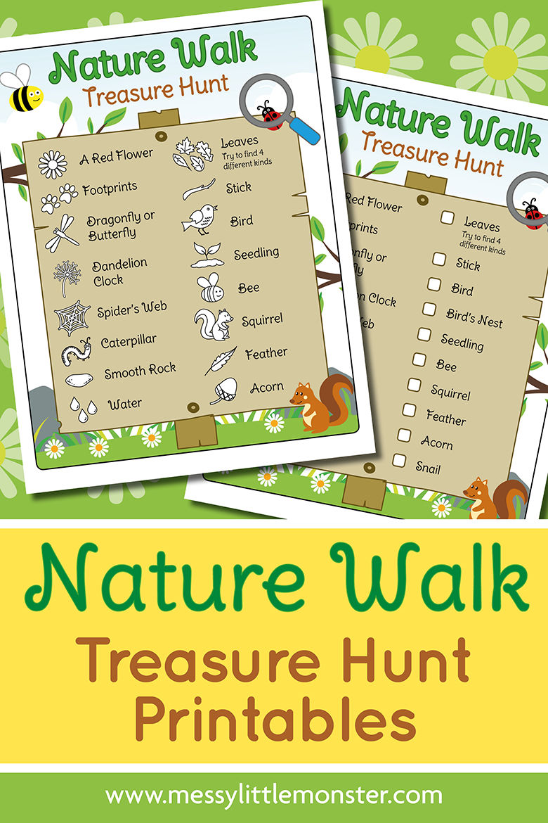 Printable nature walk scavenger hunt. A fun and easy spring or summer activity for kids.