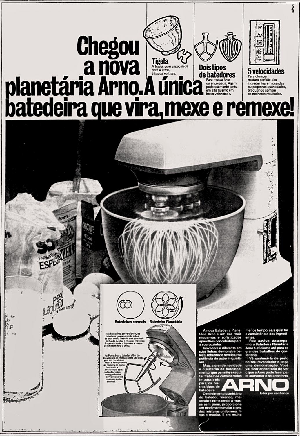 Anúncio antigo da Arno promovendo a batedeira planetária em 1978