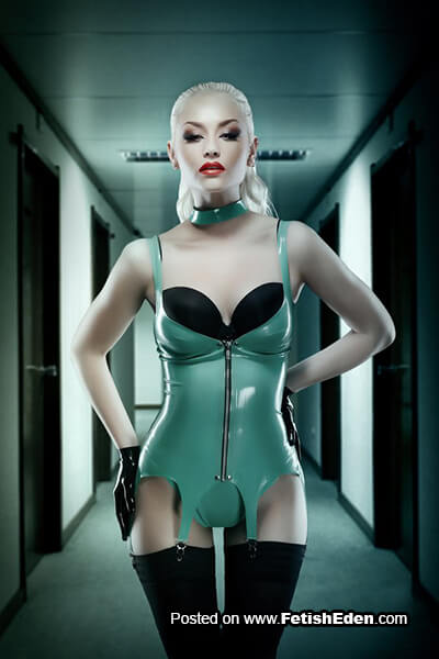 Hot blonde wearing turquoise latex top