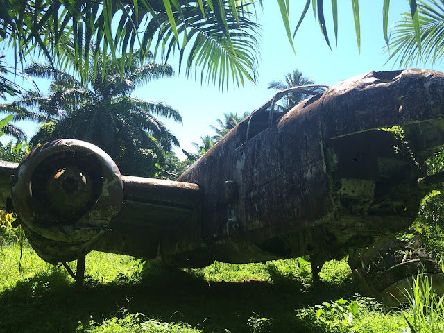 The B-25H bomber, in its final resting place on the old Talasea airstrip, Papua New Guinea