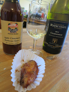 Harvest Barn Apple Cinnamon Chicken Wing with 2013 Rancourt Unoaked Chardonnay