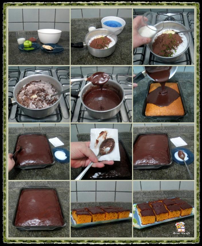 Bolo de cenoura com cobertura de chocolate 4