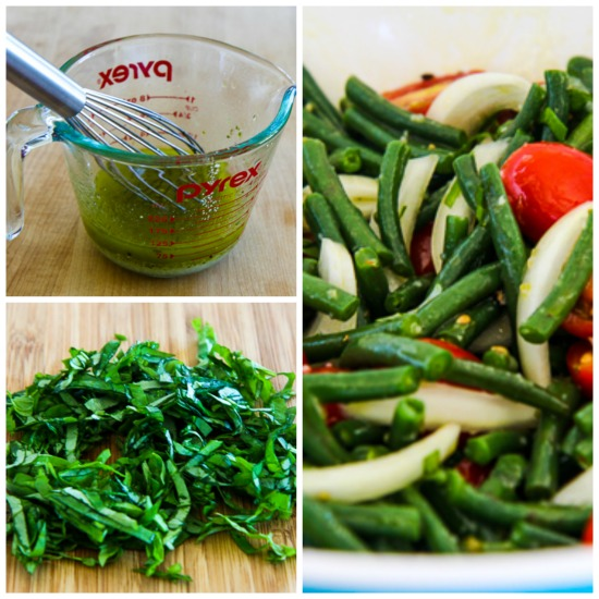 Green Bean, Tomato, Onion, and Basil Summer Salad found on KalynsKitchen.com.