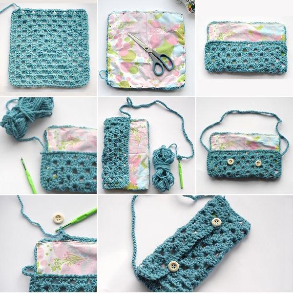Bolso con un trozo de Crochet simple