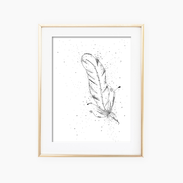 Feather Black and White Artwork