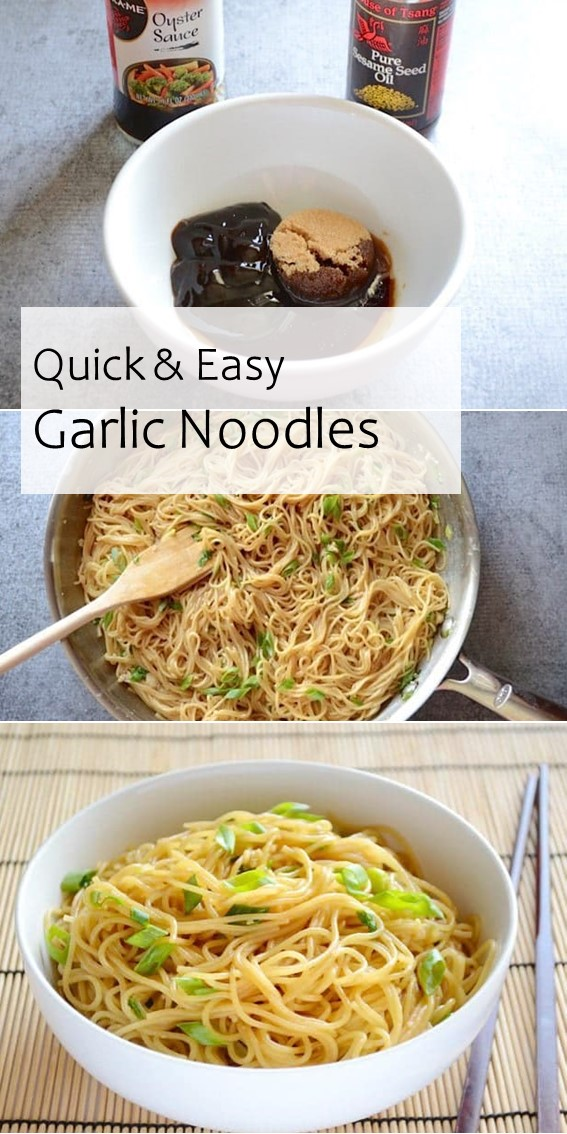 QUICK & EASY GARLIC NOODLES #Garlic #Noodles #Asian #Meal