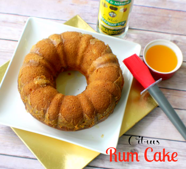 Moist citrus cake infused with white rum glaze