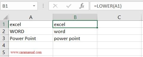rumus lower mengubah huruf menjadi kecil di excel 2