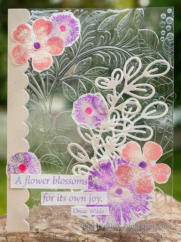Layers of ink - Embossed Acetate Card Tutorial by Anna-Karin Evaldsson. With Simon Says Stamp Vine Canopy and Anna's Flowers.