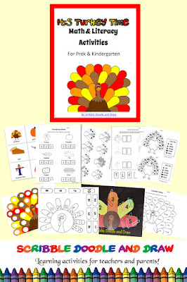 Preschool and kindergarten math and literacy activities for thanksgiving