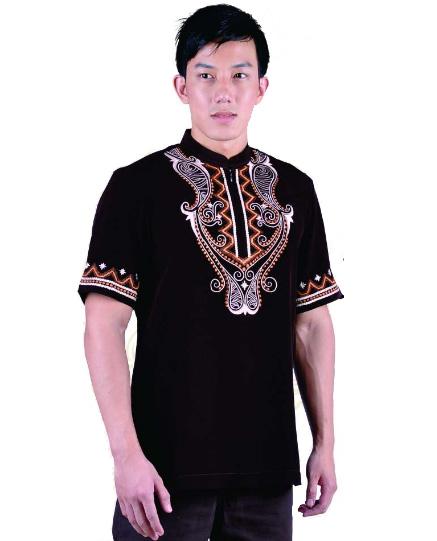 #BusanaMuslim 5 Baju Koko Batik Kombinasi Polos   Galeri