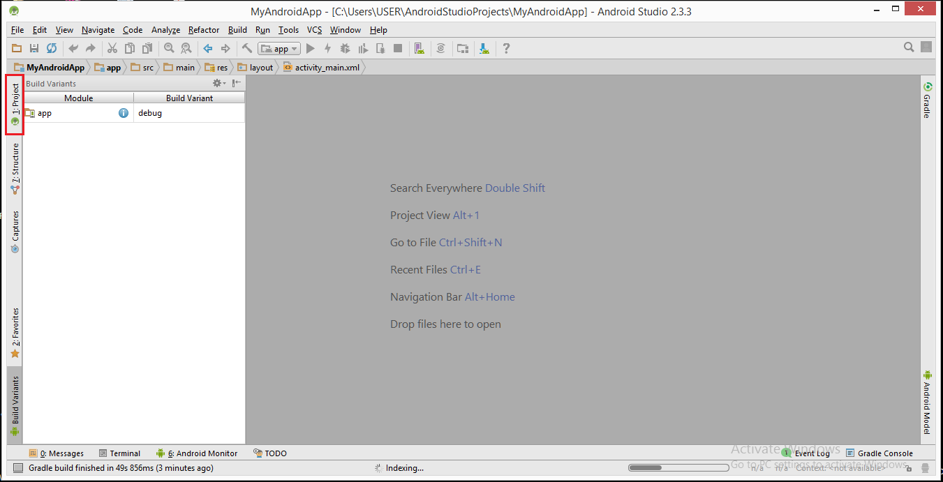 how to start a new activity in android studio