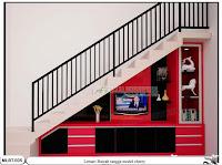 Lemari bawah tangga minimalis cherry