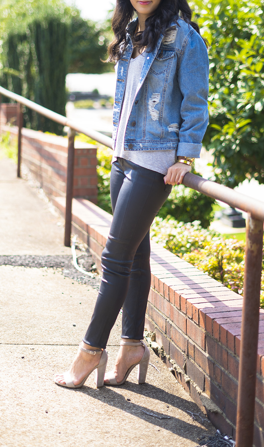 leather pants fall outfits, block heel sandals, ripped denim jacket