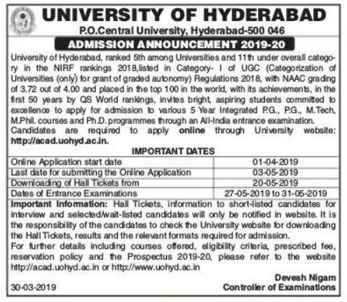 HCU PGCET notification 2019 Hyderabad central university admission