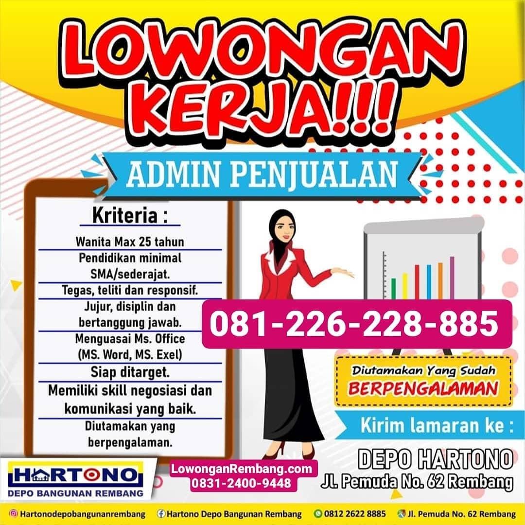 Lowongan Kerja Admin Penjualan Toko Bangunan Depo Hartono Rembang