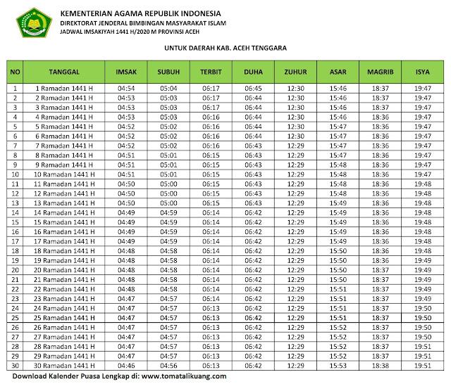 jadwal imsakiyah ramadhan buka puasa kabupaten aceh Tenggara 2020 m 1441 h tomatalikuang.com