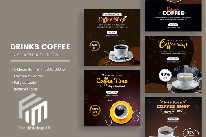 Drinks Coffee Instagram Post Templates
