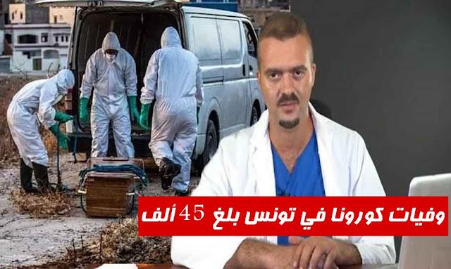 زكرياء بوقيرة وفيات كورونا في تونس بلغ 45 ألف
