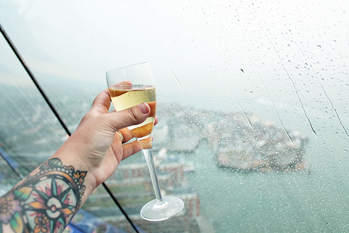 Champagne from the top of the Spinnaker Tower