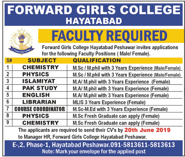 Advertisement for Forward Girls College Hayatabad Jobs