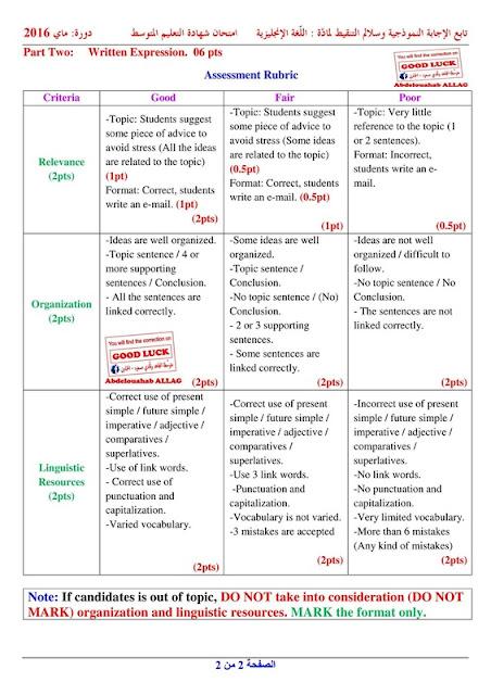 تصحيح موضوع اختبار اللغة الانجليزية لشهادة التعليم المتوسط 2016