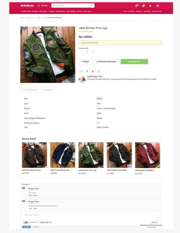 BukaBlog - eCommerce Theme Blogger 2020