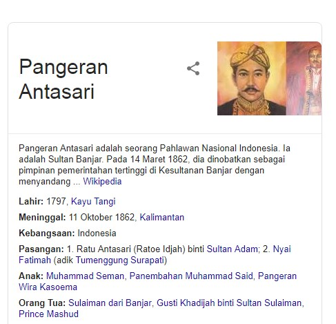 13 Fakta Menarik Tentang Pangeran Antasari Salah Satu Pahlawan Nasional