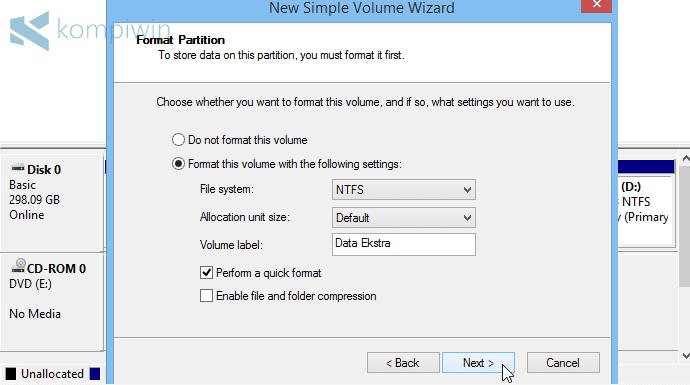 partisi baru di komputer