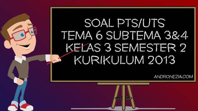 Soal PTS/UTS Kelas 3 Tema 6 Subtema 3 & 4 Semester 2 Tahun 2021