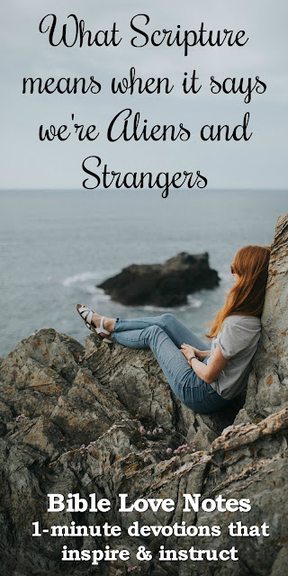 It's important that we know why Christians should be aliens and strangers here on earth. This 1-minute devotion explains. #BibleLoveNotes #Biblestudy