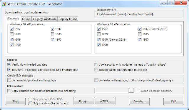 Screenshot WSUS Offline Update 12.0