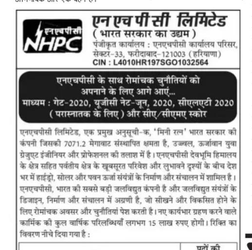 NHPC Recruitment 2020 Apply Online Trainee Engineer & Officer Posts