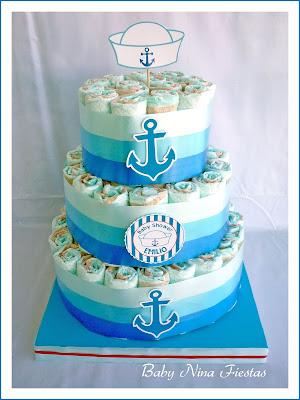 tarta de pañales marinero