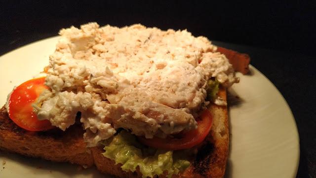 Mayo chicken mixture over lettuce tomato on toasted Bread Food Recipe Dinner ideas