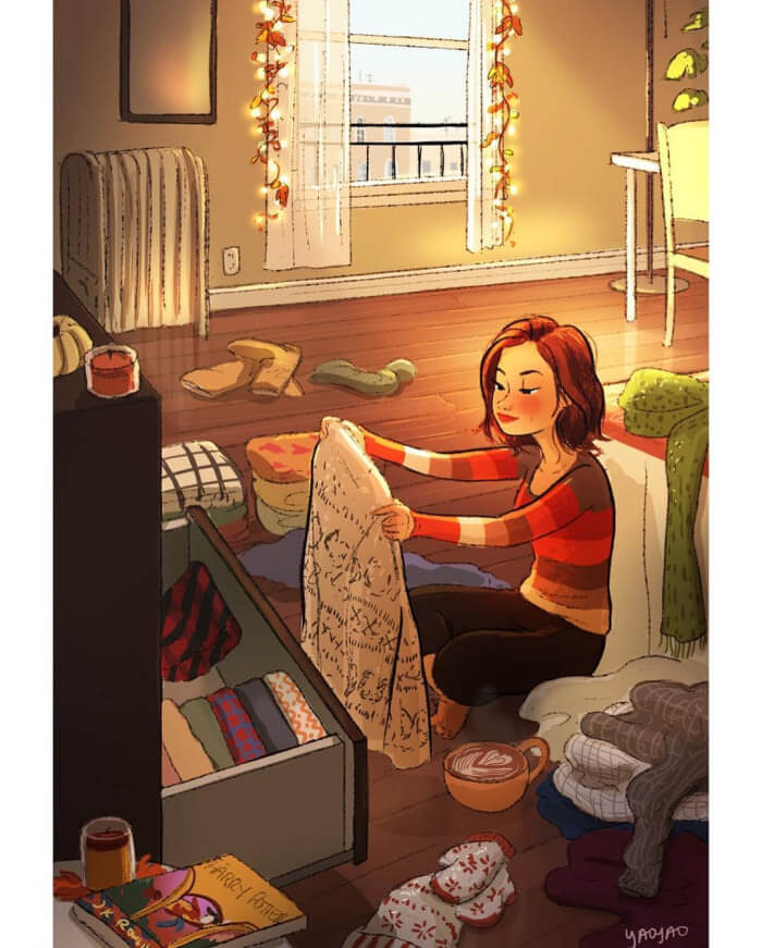 The Freedom of Living Alone in 16 Fascinating Drawings - Spend a day sorting your winter clothes...