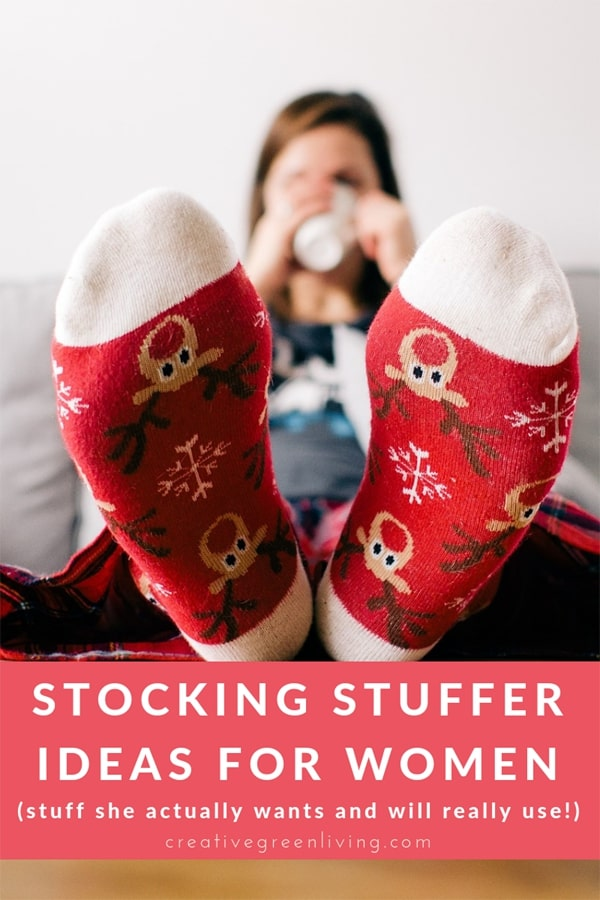 Best stocking stuffers for women. This list has lots of ideas for the adult ladies in your life that she will really love. Perfect for mom, your wife or girlfriend. Lots of great store bought ideas and some DIY ideas, too! #creativegreenchristmas #creativegreenliving #stockingstufferideas #stockingstuffers #giftideas #christmas #christmasgifts #stockings #giftsforher