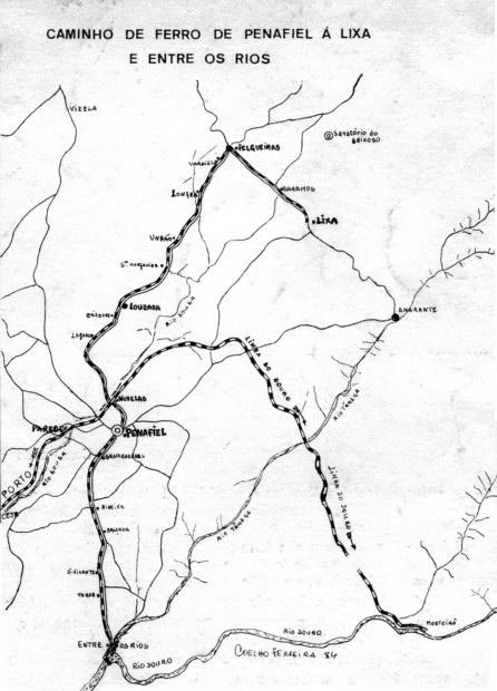 mapa entre os rios Os Caminhos de Ferro: O Caminho de Ferro de Penafiel à Lixa (e  mapa entre os rios
