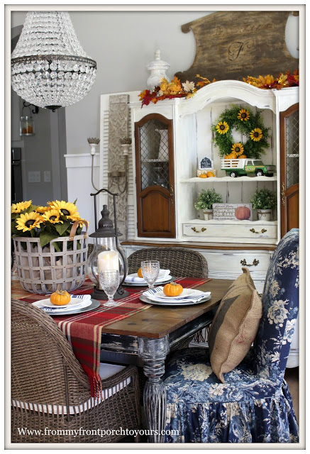 Decor Steals-Rustic Pillar Wall Sconce-French Farmhouse-Dining Room-French Country-Fall-Mia Chandelier-Floral Slip Covere-Parson Chair-From My Front Porch To Yours